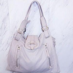 Nine West Taupe Cream Leather Bag Satchel Large